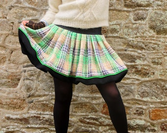 Pleated Ball skirt in Tweed De Cotton Green-White and Black and Wool Drap. Winter Tweed skirt with Carreaux Tartine de Laine