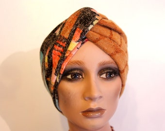Two-tone headband Turban headband red and Orange Brown teal Jersey fabric. Winter headband woman wool sandwich