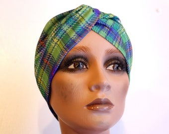 Vintage Plaid blue-green lycra Jersey headband-Turban. Retro hair headband. Wool accessories woman Chgeveux bread