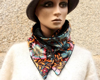 Button collar, velvet scarf printed Floral patterns and black corduroy.