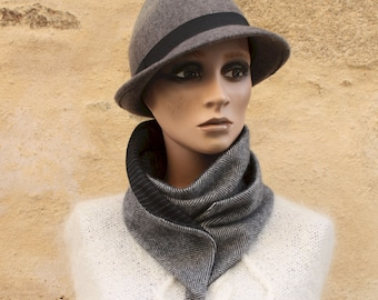Button collar, wool and flanelle collar scarf, Chevron Black Grey and Stripe. Winter scarf collar.