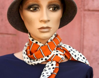 Long Orange Black and White scarf, Stripes and Peas, Retro Women's Lavallière in Acetate and Cotton. Light autumn scarf