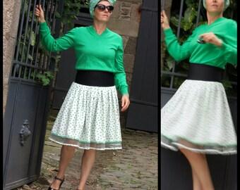 New Fifties White skirt with green polka dots. Retro original creation pleated skirt. Rock Swing Rockabilly Skirt