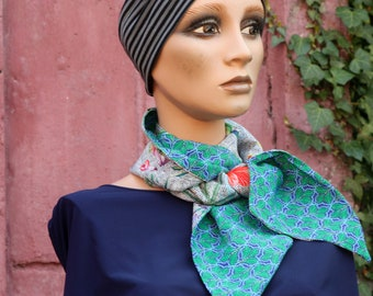 Scarf-Lavalière, green and blue duck, bicolor in cotton and viscose. Women's bow tie. Wool Tartine