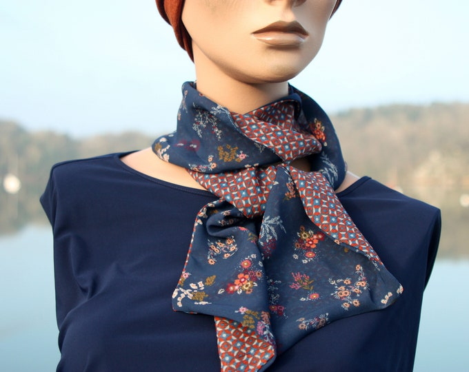 Featured listing image: Floral boho women scarf veil viscose blue and taupe