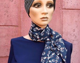 Long scarf, Lavallière, Cravate Femme, Blue Woman Butterfly knot with red and white motifs in Crepe from Viscose.