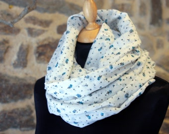 Scarf Snood white small floral blue cotton Voile. Sale cotton Choker
