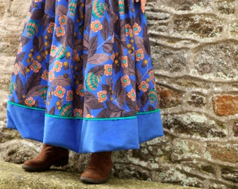 Long Electric Blue skirt with flowers from Granada Pink Brown .  Skirt Ball Maxi pleated Creation Cotton and Velvet .
