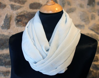 Scarf Snood in light blue silk Crepe. Bridal silk stole. silk scarf. Slice of wool