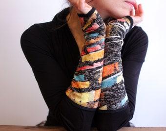 Black-Yellow-Orange Blue Wool Mitten, Winter Women's Handmade Creation Mittens