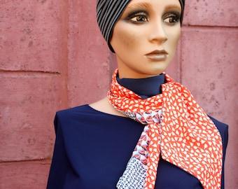 Scarf, blue woman summer scarf - White and Orange cotton / Viscose. Men's/Female Scarf