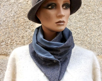 Button collar, collar scarf in Blue-Grey Wool Drap and Blue Milleraies Velvet. Collar winter woolly scarf and cotton.