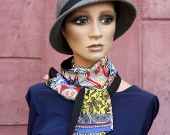Scarf, Lavallière, Woman's Tie, Cotton Patterned Black-White-Yellow-Red-Blue . Tartine de Laine