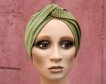 Cross-turban headband, Bicolore Green stripe and Brown / Green and Grey mottled, in Jersey Cotton. Headband Yoga.