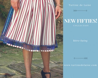Skirt New Fifties Retro stripes red white and blue. original design pleated skirt. Rock Rockabilly Swing skirt