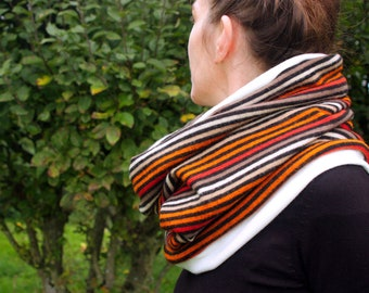 Scarf collar, scarf-Snood with Stripe Fauve-orange in Jersey Wool. Wool neck tower