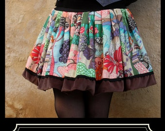 Ball skirt patterned flowers and Silhouette Art Deco cotton canvas. Balloon skirt