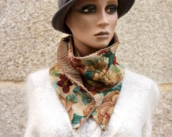 Button collar, collar scarf with flowers jacquard fabrics and Velvet Interior Brown . Winter scarf collar.