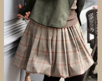 Ball skirt creating to Plaid Brown/Brown/Red cotton canvas