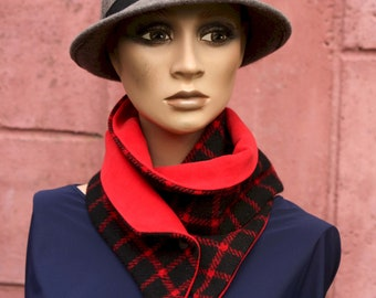 Button collar, velvet collar scarf and Red and Black Wool Drap. Winter scarf collar.