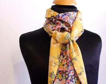 Scarf, Ascot, tie woman two-tone romantic pink blue and yellow flowers. Cotton and Viscose. Slice of wool
