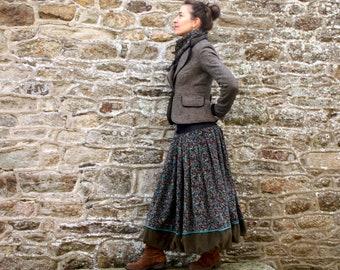 Long Velvet Ball Skirt with Little Blue-Brown-Green Flowers and Kaki Corduroy.  Long Ball Skirt Creation Laine Tartine