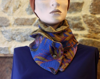 Button collar, Jacquard Blue Cotton fabric collar scarf with Flowers and Velvet Brown Fauve . Wool Tartine