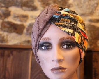 Turban Chiné Yellow-Orange Grey and Taupe band in Jersey Lainage . Winter Band Woman Wool Tartine