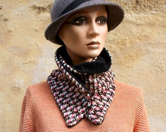 Button collar, wool and velvet collar scarf, Tweed Rouge-Brun-Beige and Black Corduroy. Winter scarf collar.