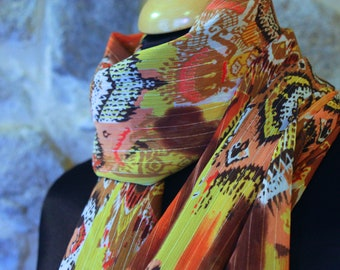 Promo Studio space. Shawl Orange yellow patterned ethnic viscose. scarf. square. Balance accessory