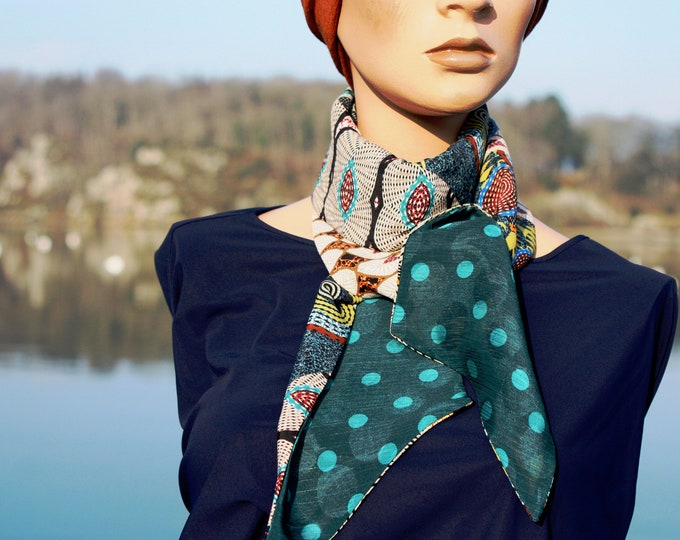 Featured listing image: Long and thin scarf, Lavallière woman with polka dots and ethnic motifs Green-Blue Duck in Viscose.