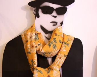 Scarf, Lavallière, yellow tie with green flowers. Retro look viscose tie. Wool Tartine