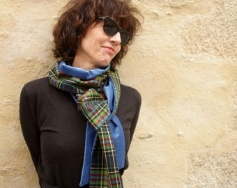 Scarf woman scarf man green and blue Plaid wool and velvet