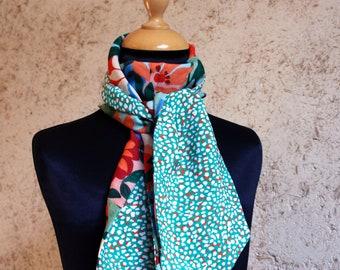 Scarf, Ascot, tie women Mint green specks and exotic flowers blue Orange Viscose Coton.Foulard spring woman