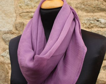 Promo Studio space. Shawl, scarf, made with purple silk chiffon, silk scarf purple