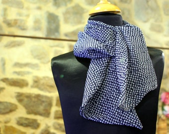 Blue woman scarf Navy polka dot Viscose veil. Slice of wool