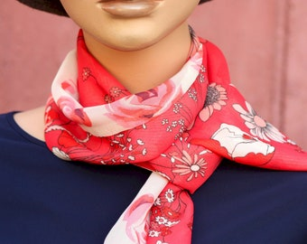 Lavallière, Long Woman scarf, red Poppy and white with pink flowers in Viscose veil. long, light scarf