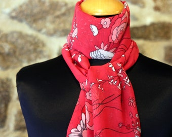 Ascot tie women, bow tie red woman poppy viscose chiffon. Retro style accessory