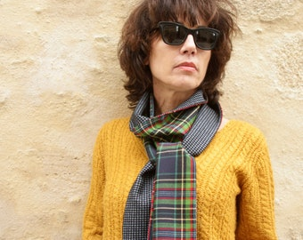 Mixed scarf, Chevron Brown Camel and Pied de Puce. Rolling and Acetate