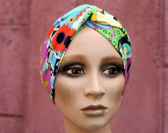 Cross-turban headband, Multicolored floral patterned, Graphic and psychedelic. Jersey Cotton. Headband twist