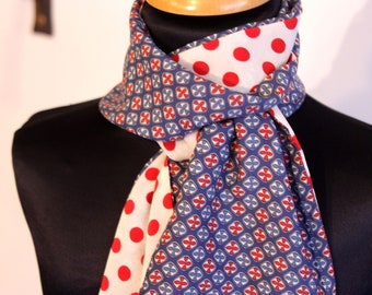 Scarf, Ascot, tie bicolor polka dot red and blue rosette retro woman. Slice of wool