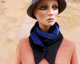 Button collar, black woolen collar scarf and Blue Velvet. Winter scarf collar. Wool and cotton