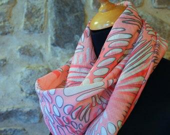 Viscose white bubble pink and gray, square scarf shawl. Balance Tartine wool accessory