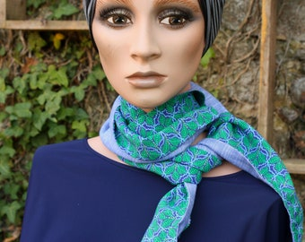 Long and thin scarf, Blue and Green Lavallière in cotton and viscose . Men's/Female Lavallière. Tartine de Laine