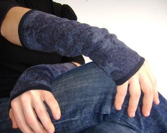 Mitten cuff long woolen Blue Heather.