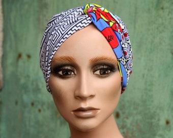 Bandeau-Turban woman Bicolore Fresque Art Deco and Multicolored Graphic patterns. Headband in cotton jersey. Tartine de Laine