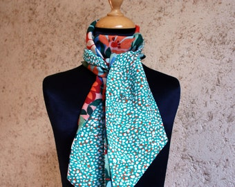 Scarf woman Mint Viscose and cotton flowers. Spring/summer scarf, women gift. Slice of wool