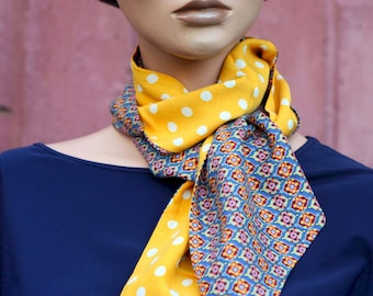 Long and fine yellow scarf with White Peas and Blue with small Patterns Multicolored medallion in Cotton, Lavallière and/or hair scarf.