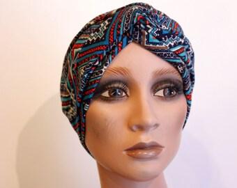 Headband-Turban blue-Orange small Jersey cotton graphic patterns. Jersey headband. Gift idea. Slice of wool