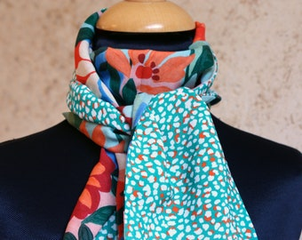 Scarf, Ascot, tie women Mint green specks and exotic flowers blue Orange Viscose Coton.Foulard spring woman